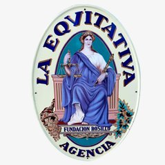 Vintage Eqvitativa Agencia Sign, Spain, 1910s