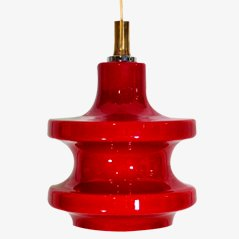 Vintage Crimson Glass Pendant Light, 1970s