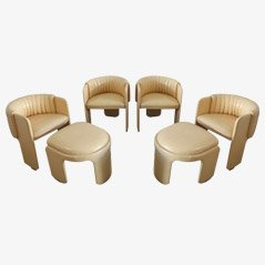 Vintage Lounge Chairs with Foot Stools by Poltrona Frau, 1970s, Set of 6