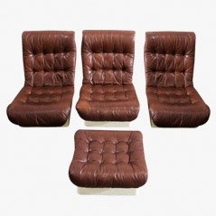 Lounge Chairs with Ottoman from Airborne, France, 1970s, Set of 4