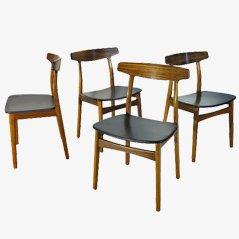 Chaises Vintage par Henning Kjaernulf pour Bruno Hansen, 1955, Set de 4
