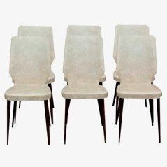 Vintage Skai Leder Stühle, 1950er, 6er Set