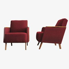 Vintage Burgundy Arm Chairs, 1960s, Set of 2