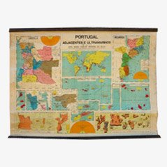 Vintage Portugal School Map, 1940s