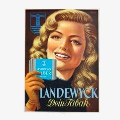 Cartel publicitario vintage de tabaco Landewyck, años 50
