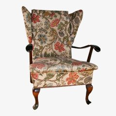 Floral Art Nouveau Wing Chair, 1900