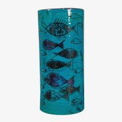 Jarrón de cerámica Rimini Blu de Aldo Londi para Bitossi, años 50