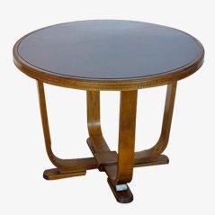 Table Basse Art Déco avec Dessus en Verre, 1950s