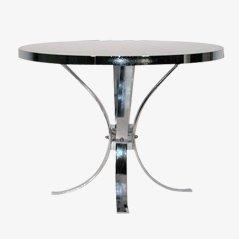 Tavolo rotondo con struttura placcata in cromo, anni '70