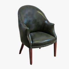 Vintage English Leather Armchair, 1940s