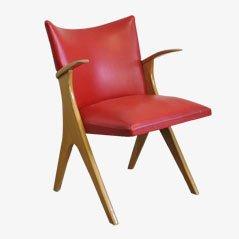 Silla vintage de escay y cuero rojo, años 50