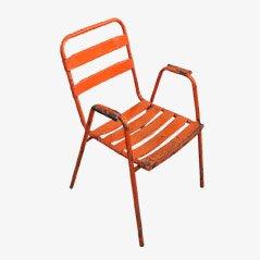 Silla industrial vintage de acero naranja, años 50
