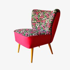 Cocktail Chair with Floral Upholstery, 1950s