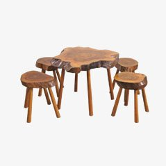 Mid-Century Wooden Table and Four Stools, Set of 5