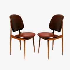 Mid Century Kunstleder Stühle von Pierre Guariche, 1960, 2er Set