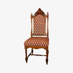 Antiker Schnitzerei Beistellstuhl aus Holz