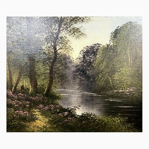 Nicolai Alexandovitch Okolowicz, olio su tela, la passeggiata lungo il fiume