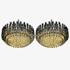 Crystal and Steel Chandeliers from Camer Venini, Set of 2