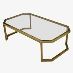 Modernist Brass Coffee Table by Maison Jansen, 1970s