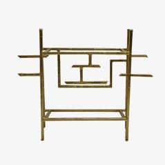 Geometric Brass Wall Console by Henri Fernandez, 1980s