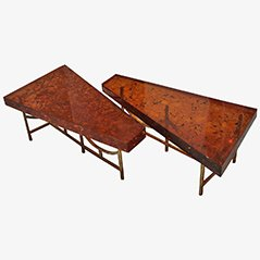 Fractal Resin Coffee Tables by Henri Fernandez, 1972, Set of 2