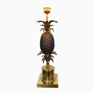 Große Vintage Messing & Bronze Ananas Lampe