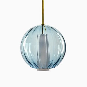 Globe Pendant in Ocean Blue, Moire Collection, Hand-Blown Glass by Atelier George