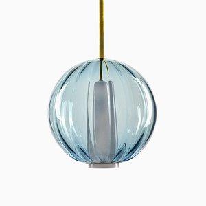 Lampada a sospensione collezione Moire in vetro blu oltremare soffiato a mano di Atelier George
