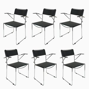 Stackable Steel & Leather Armchairs by Giandomenico Belotti, 1970s, Set of 6