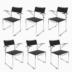 Stapelbare Sessel mit Gestell aus Stahl & Sitz aus Leder von Giandomenico Belotti, 1970er, 6er Set
