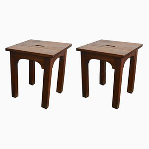 French Oak Stools, 1940s, Set of 2