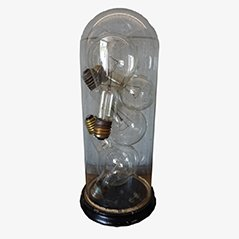 Round Vintage Glass Bell Dome with Industrial Light Bulbs