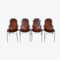 Leather Chairs by Charlotte Perriand for Les Arcs, Set of 4