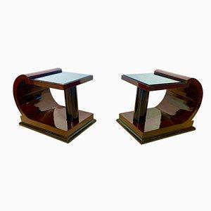 Art Deco Side Table in Ebonized Rosewood Veneer & Black Glass, France, 1930s