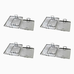 Polished Aluminum Colony Trays by Aldo Cibic for Paola C., Set of 4