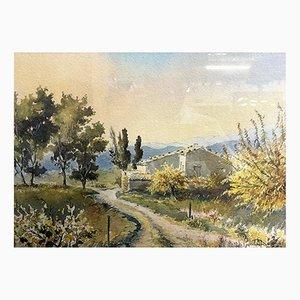 Scuola francese, paesaggio provenzale, 1970, acquerello