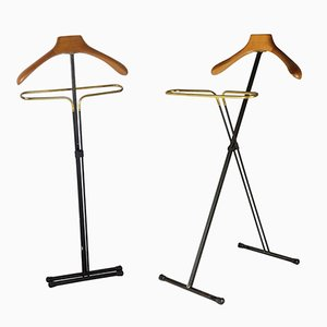 Black Metal, Wood & Brass Folding Valet Stands, 1950s, Set of 2