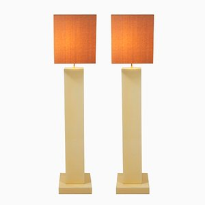 Lacquered Wood Floor Lamps, 1970s, Set of 2