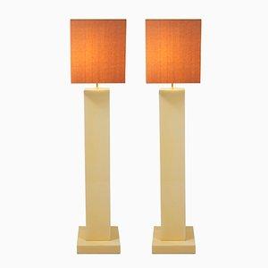 Lámparas de pie de madera lacada, años 70. Juego de 2