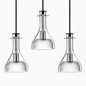 Lampade da soffitto Wolkje S cromata di Fällander Glas per Akaru, set di 3