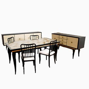 Dining Room Set by Paolo Buffa for La Permanente Mobili Cantù, 1940s, Set of 8