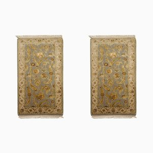 Blue Silk & Wool Handmade Jaipur Carpets, 1984, Set of 2