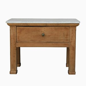 Antique Butcher's Table with Marble Top
