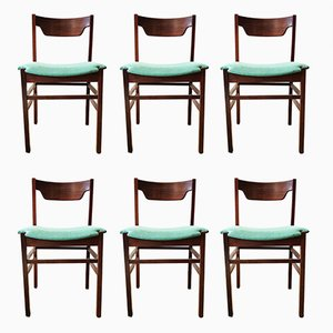 Italian Teak Chairs, 1970s, Set of 6