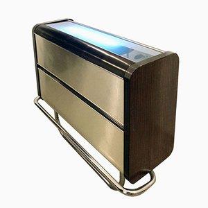 Mueble bar de aluminio y madera con tablero luminoso, años 70