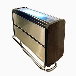 Wood & Aluminum Bar Cabinet with Illuminating Top, 1970s