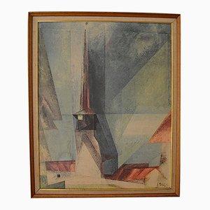 Impresión Bauhaus de Lyonel Feininger, años 50