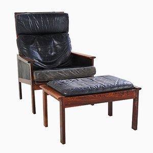 Dänischer Capella Sessel mit Fußhocker von Illum Wikkelsø für Niels Eilersen, 1950er