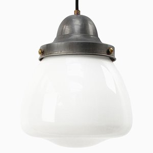Vintage European White Opaline Milk Glass Pendant Lamp