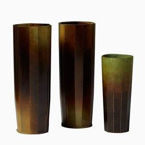 Swedish Vases by Ivar Ålenius-Björk for Ystad Brons, 1930s, Set of 3